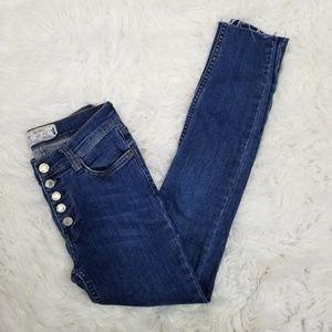 Free People Distressed Reagan Skinny Crop Jeans 25
